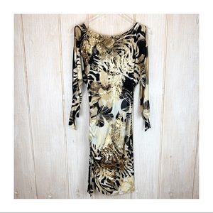 Cache Open Sleeve Animal/Floral Gold Accent Dress